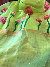 Load image into Gallery viewer, Green Linen Silk Saree with Blouse