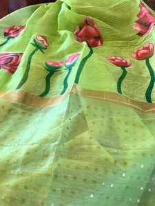 Green Linen Silk Saree with Blouse