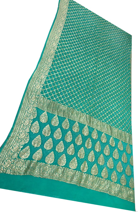 Sea Green Bandhani Silk Saree