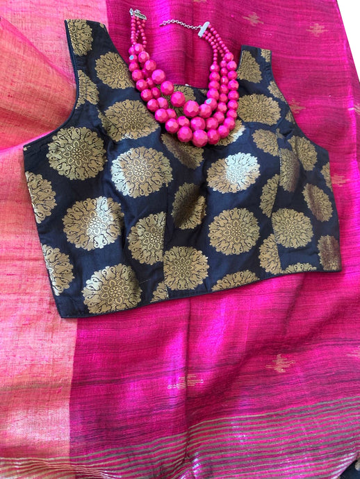 Magenta Pink Matka Silk Saree with Blouse
