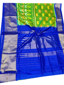Parrot Green Handloom Pochampally Ikat Pure Silk Saree