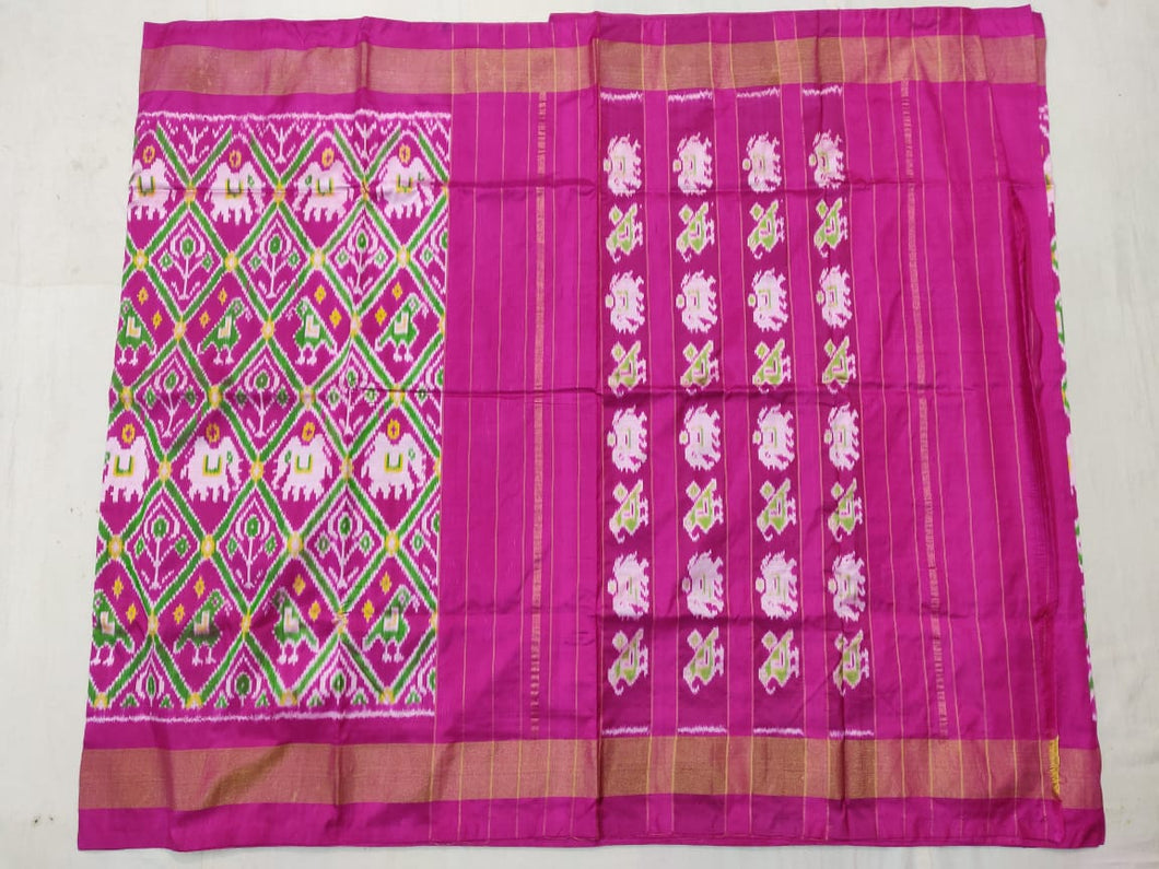 Pink Pochampally Ikat Silk Saree