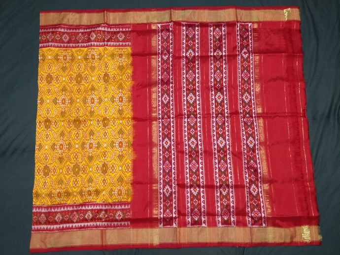 Yellow Pochampally Ikat Silk Saree