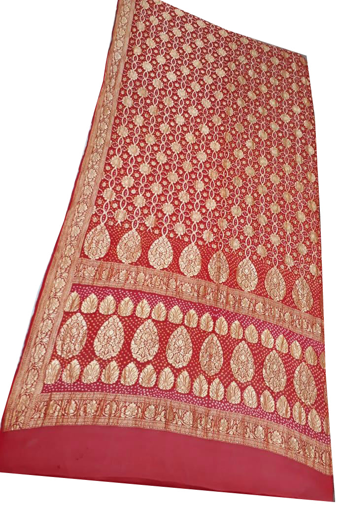Red Bandhani Silk Saree
