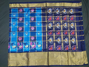 Blue Checkered Pochampally Ikat Silk Saree