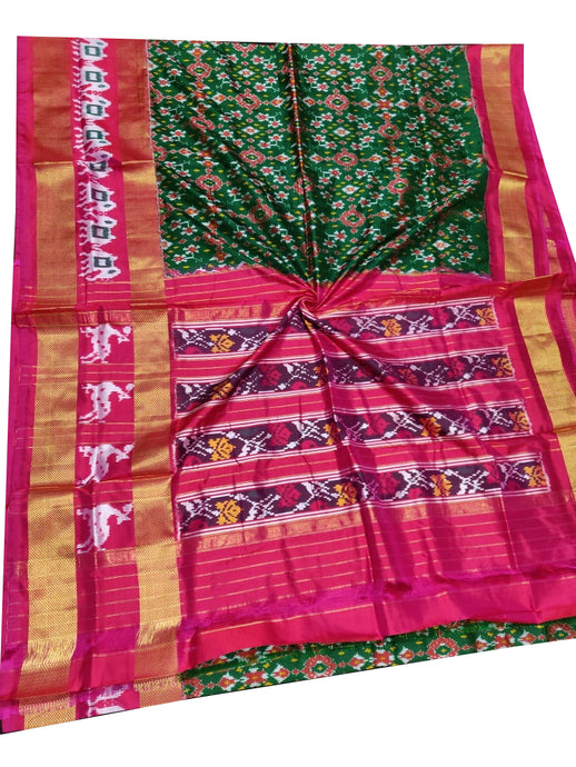 Bottle Green Handloom Pochampally Ikat Pure Silk Saree