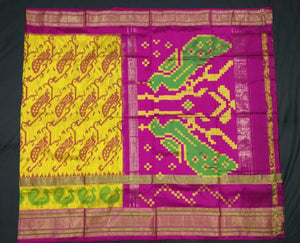 Yellow Checkered Pochampally Ikat Silk Saree