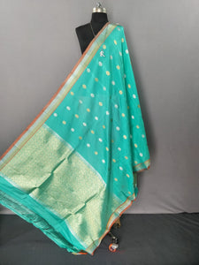 Sea Green Kanchipuram Silk Dupatta