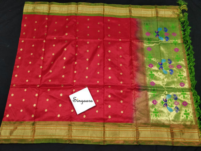 Red Paithani Silk Dupatta