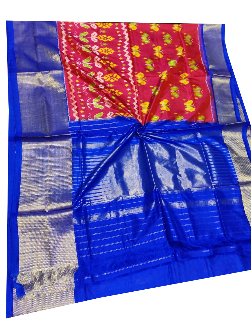 Red Handloom Pochampally Ikat Pure Silk Saree