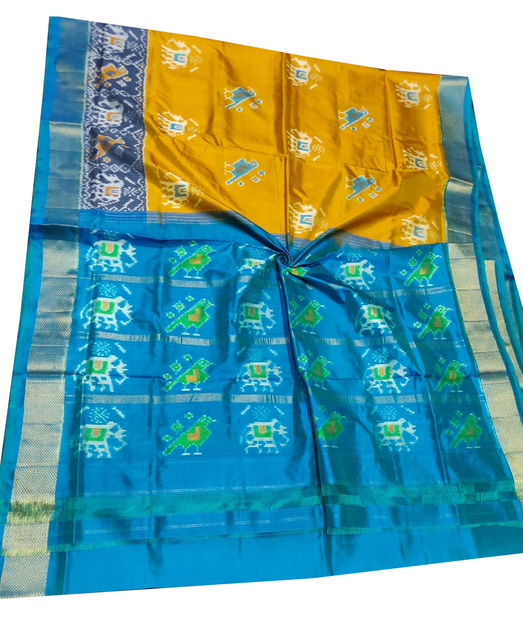 Mustard Yellow Handloom Pochampally Ikat Pure Silk Saree