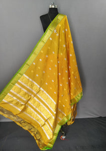 Yellow and Green Kanchipuram Silk Dupatta