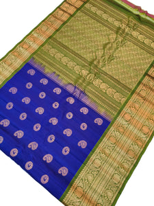Bridal Blue Gadwal Silk Saree