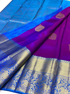 Purple and Blue Kanchipuram Silk Saree