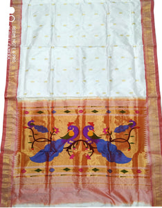Off White Paithani Silk Saree