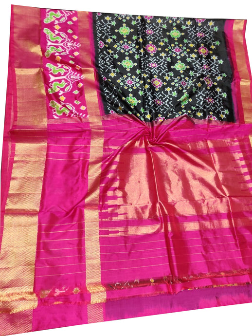 Black Pochampally Ikat Pure Silk Saree