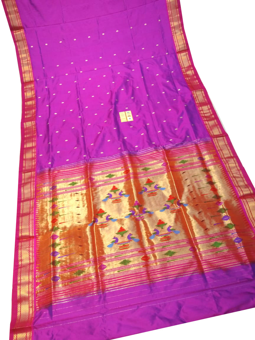 Pinkish Purple Paithani Silk Saree
