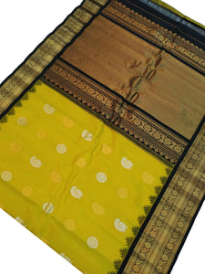 Yellowish Green Gadwal Silk Saree