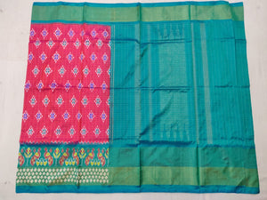 Pink Checkered Pochampally Ikat Silk Saree