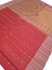 Deep Peach Gadwal Silk Saree