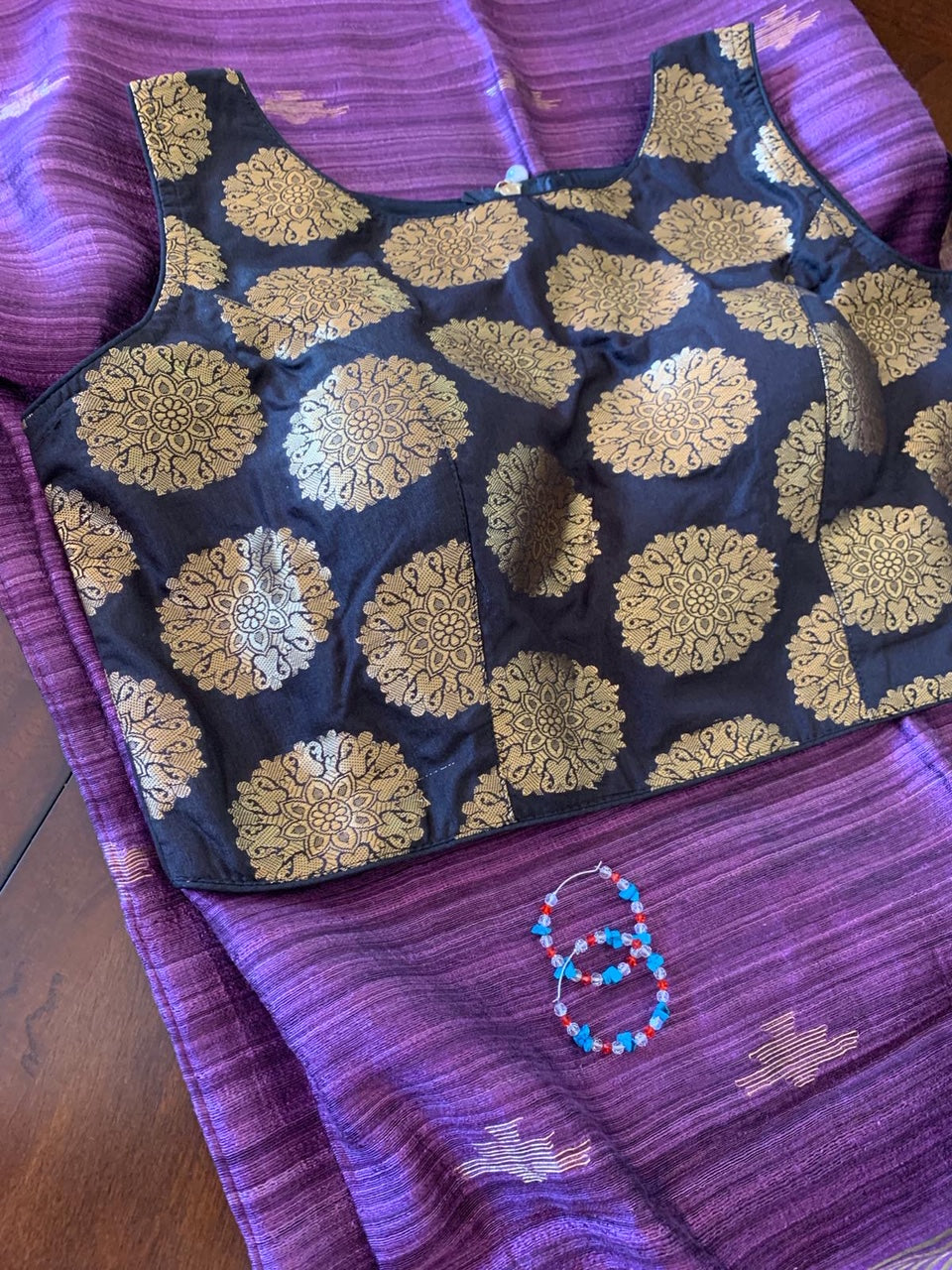 Violet Matka Silk Saree with Blouse