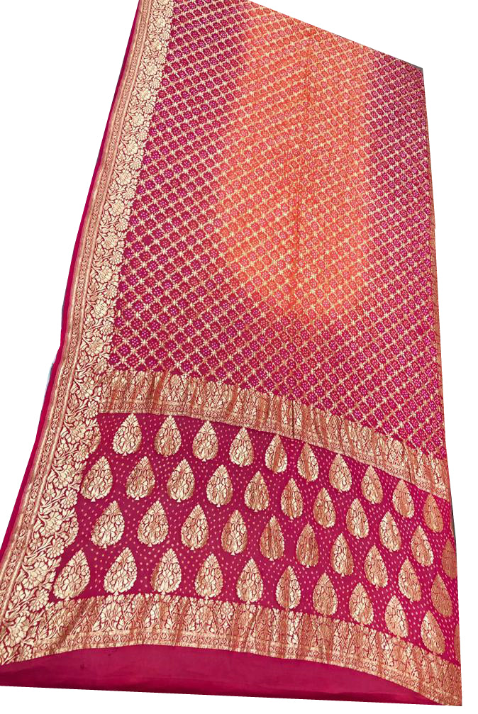 Pink and Orange Bandhani Silk Saree