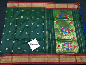 Dark Green Paithani Silk Dupatta