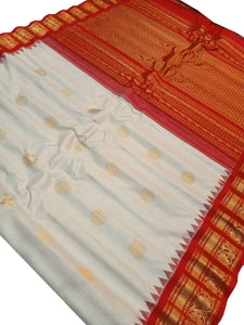 Bridal Off White Gadwal Silk Saree