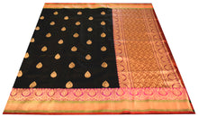 Load image into Gallery viewer, Black Banarasi Silk Saree