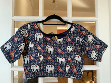 Load image into Gallery viewer, Navy Blue Ethnic Design Blouse