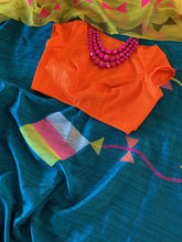 Load image into Gallery viewer, Deep Copper Sulphate Blue Matka Silk Saree with Blouse