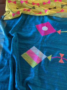 Deep Copper Sulphate Blue Matka Silk Saree with Blouse
