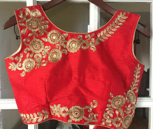 Sleeveless Red Embroidered Blouse