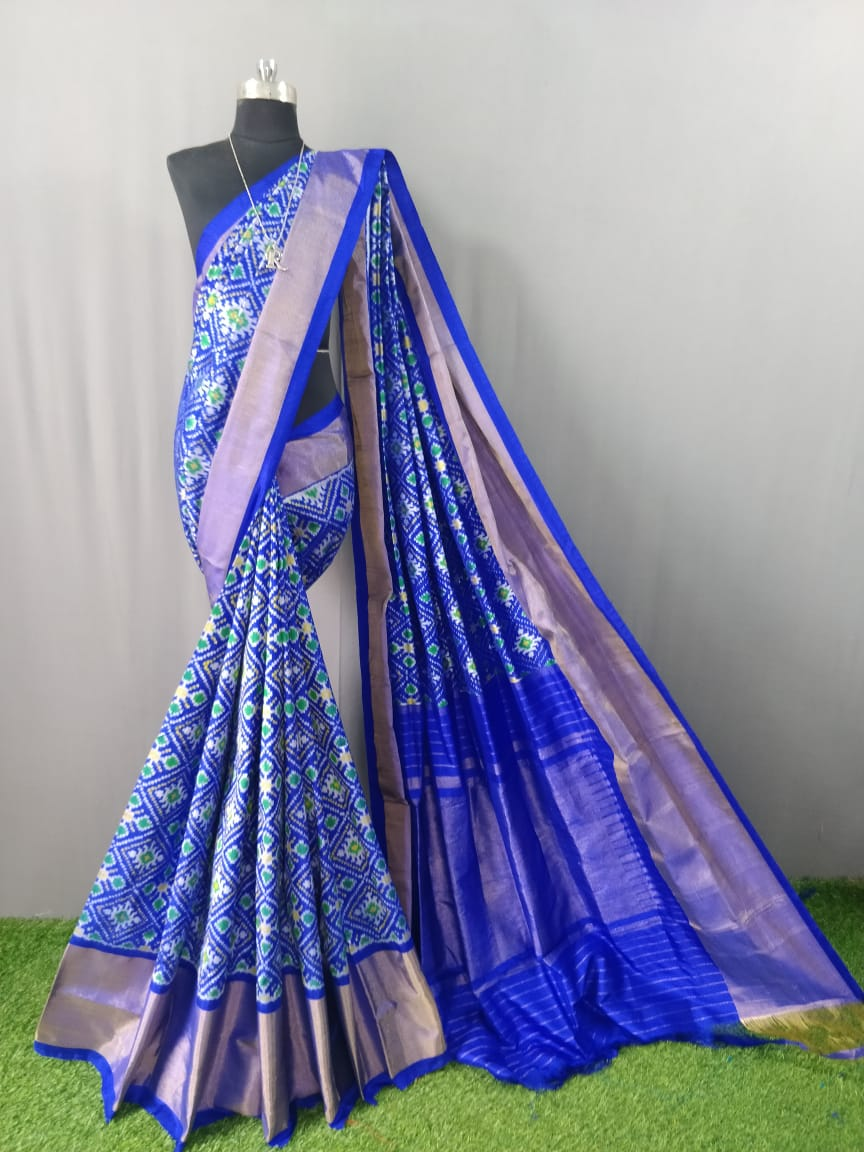 Electric Blue Pochampally Ikat Silk Saree