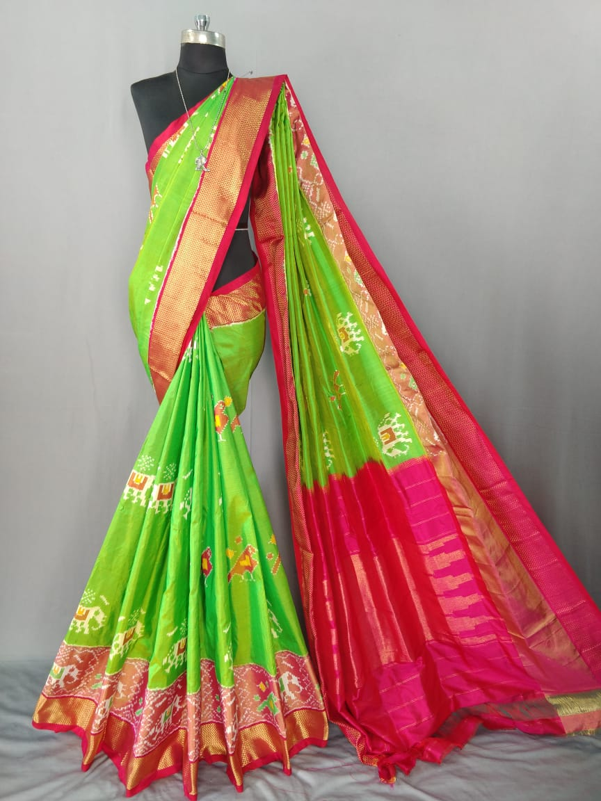 Parrot Green Pochampally Ikat Silk Saree