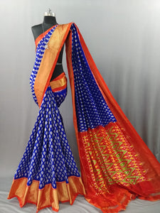 Indigo Blue Pochampally Ikat Silk Saree