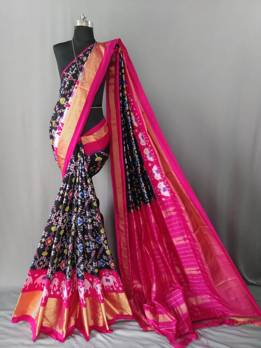 Black Pochampally Ikat Silk Saree