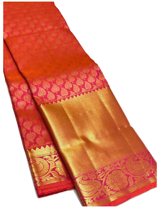 Bridal Pink and Orange Dual Tone Brocade Kanchipuram Silk Saree
