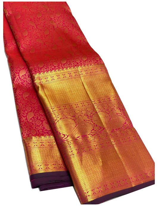 Grand Bridal Pink Brocade Kanchipuram Silk Saree