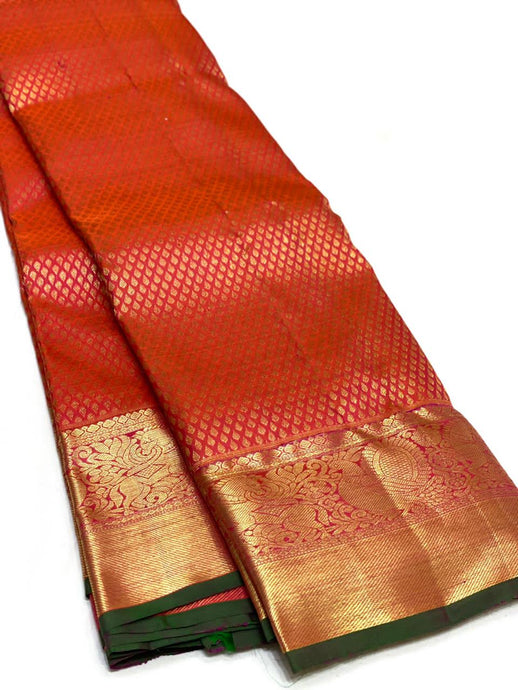Bridal Red Brocade Kanchipuram Silk Saree