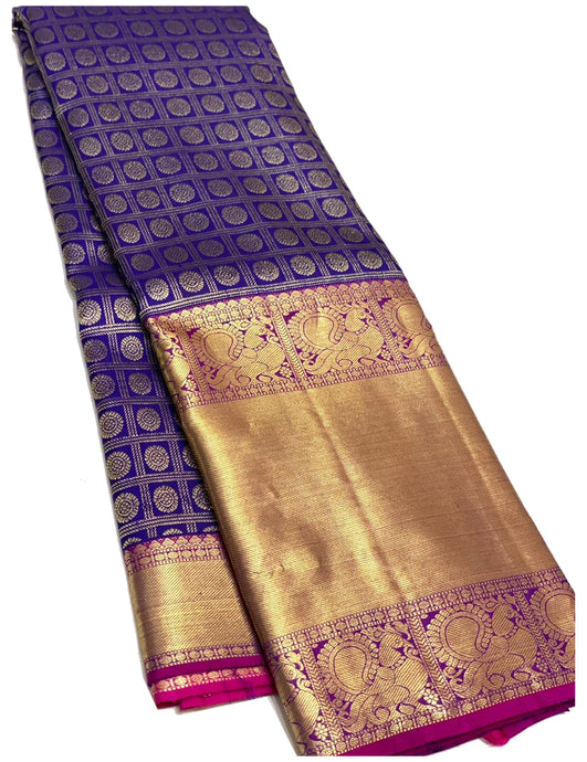 Bridal Navy Blue Brocade Kanchipuram Silk Saree