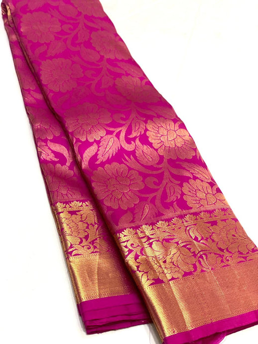 Bridal Pink Floral Brocade Kanchipuram Silk Saree
