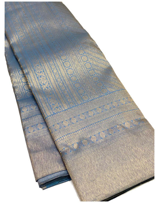 Bridal Pastel Blue Brocade Kanchipuram Silk Saree