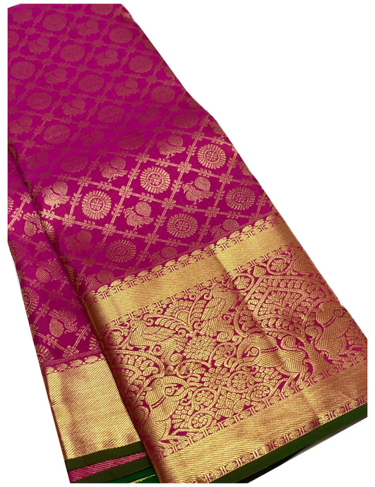 Bridal Pink Checkered Brocade Kanchipuram Silk Saree