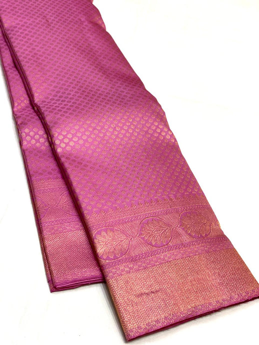 Bridal Pastel Pink Brocade Kanchipuram Silk Saree