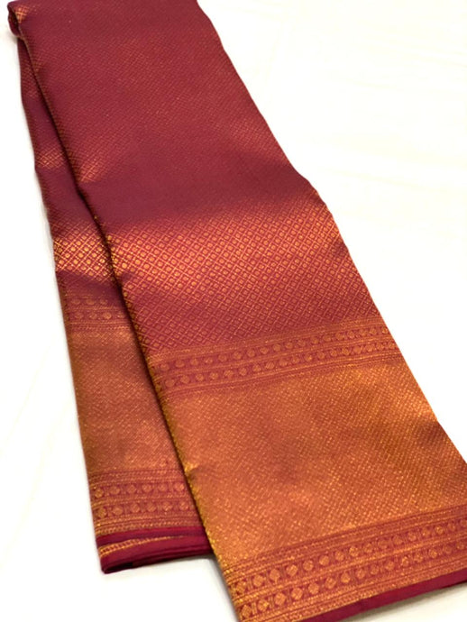 Bridal Maroon Red Checkered Brocade Kanchipuram Silk Saree