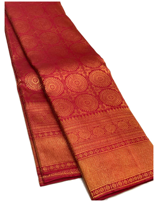 Bridal Maroon Red Brocade Kanchipuram Silk Saree