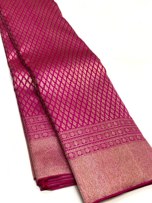 Bridal Deep Pink Brocade Kanchipuram Silk Saree
