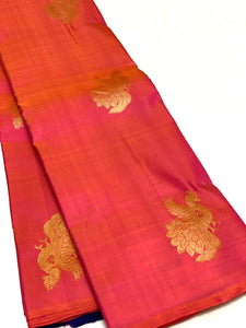 Borderless Orange Pink Dual Tone Kanchipuram Silk Saree