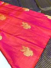 Load image into Gallery viewer, Borderless Orange Pink Dual Tone Kanchipuram Silk Saree
